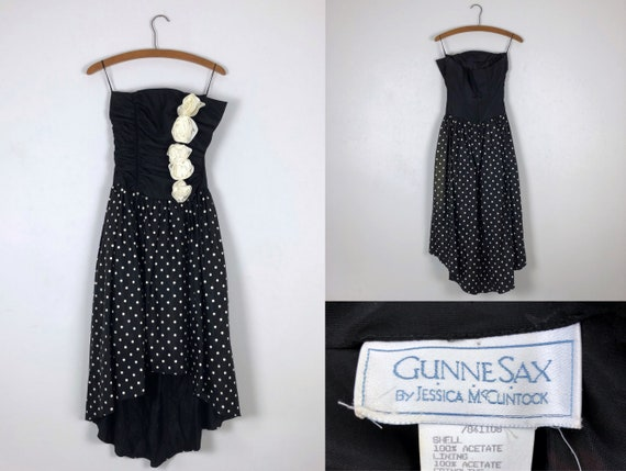 1980s Vintage Gunne Sax Black & White Polka Dot Hi