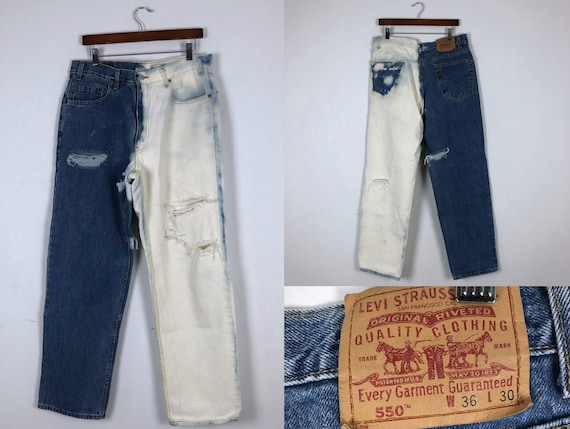 1990s Vintage Two Tone Bleached Levi's 550 Jeans-