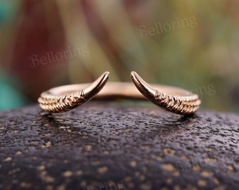 Open band wedding band Vintage  rose Gold unique Art Deco Antique stacking wedding ring   Promise Anniversary wedding ring
