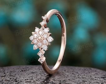 Vintage Diamond/Moissanite engagement ring Cluster ring Unique rose gold ring Delicate snowflake wedding Bridal Promise Anniversary Ring