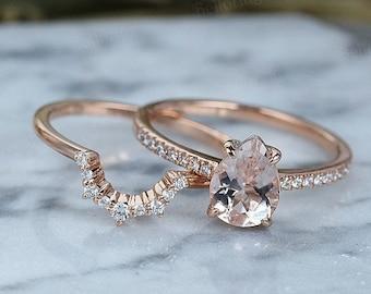 Vintage Morganite engagement ring set art deco ring set Rose gold pear cut diamond Half eternity Wedding band set Anniversary ring set