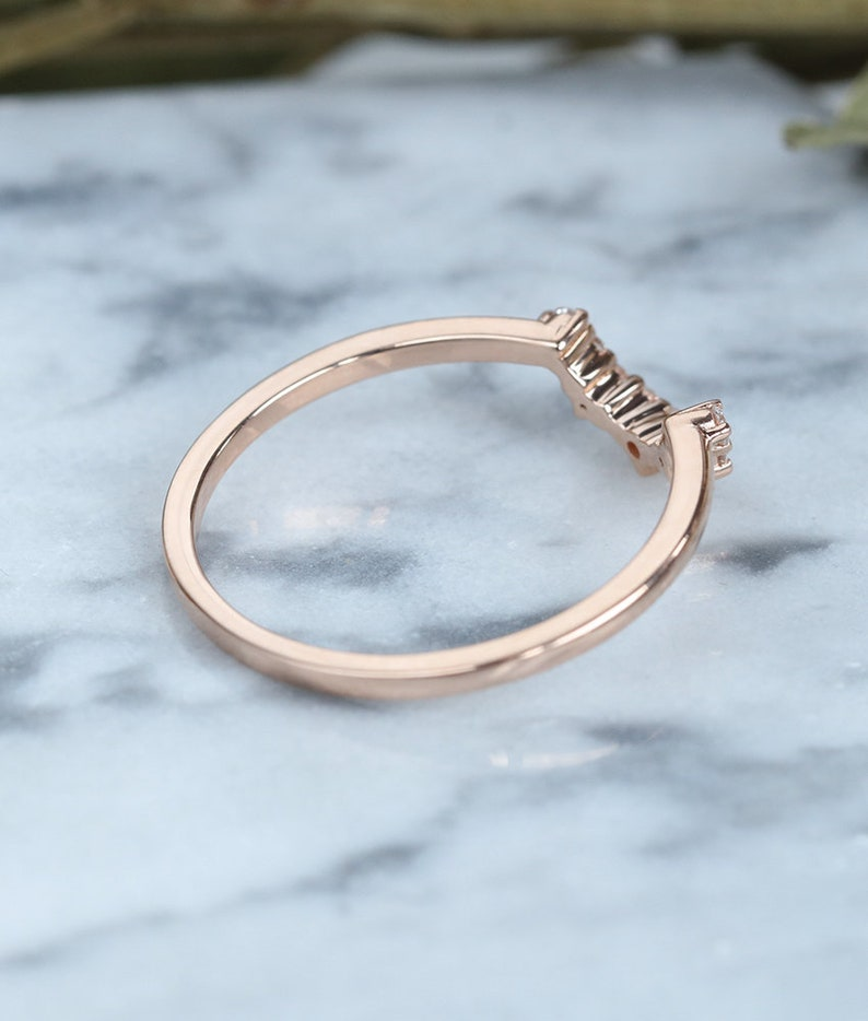 Diamond Curved wedding band rose gold ring halo Vintage Bridal Set Jewelry Antique Solid 14K  Matching Promise Anniversary Gift for women
