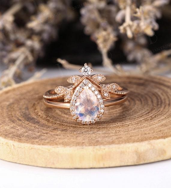 Moonstone Engagement Ring Women Rose Gold Pear Cut Vintage Etsy