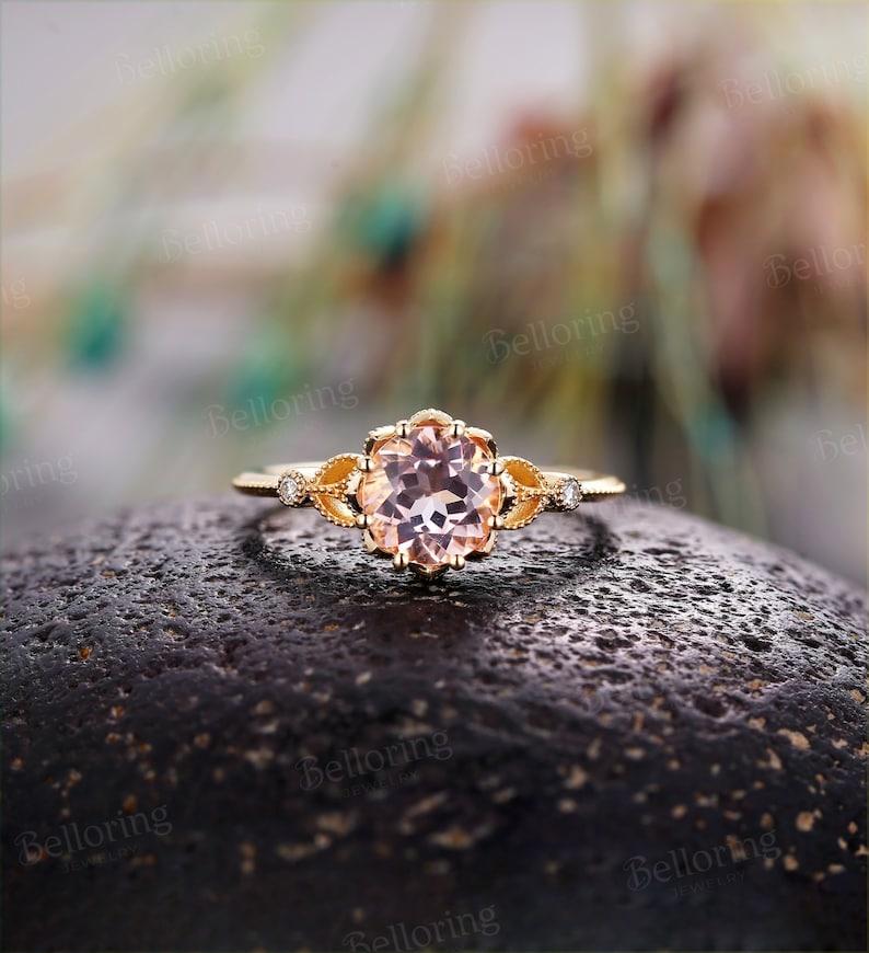 Morganite Engagement Ring 14k Rose Gold Oval Cut Morganite Wedding Ring Antique Art Deco Women Promise Anniversary Gift For Her