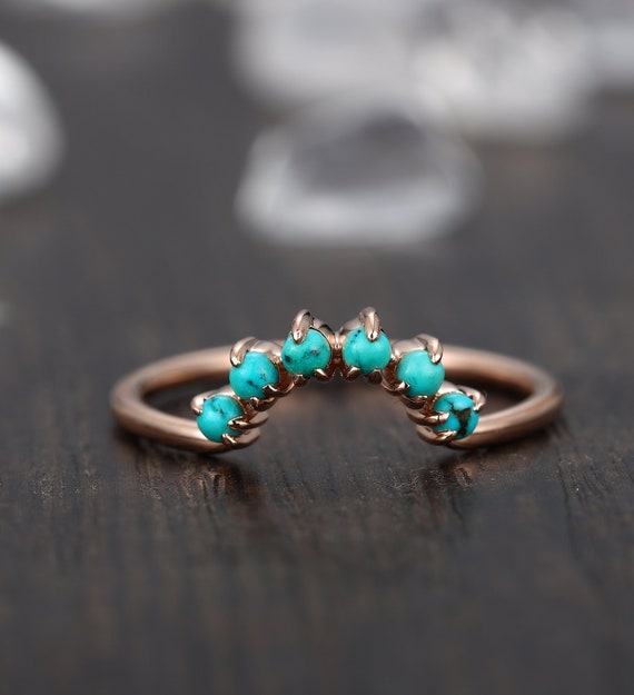 Keepfit Womens Vintage Natural Turquoise Twist Wedding Band Ring