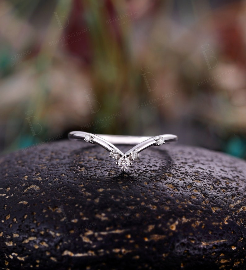 Moissanite Diamond Curved wedding band woman Solid 14K white gold Vintage marquise V shape Jewelry chevron stacking Anniversary Gift for her