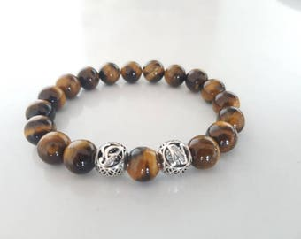 Man, Tiger eye, 925 sterling silver initial bracelet