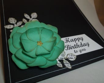 Happy Birthday to you - turqoise flower on black cardstock