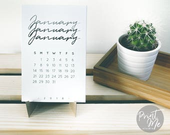 2018 Calendar    Printable Desk Calendar 2018   Calendar Template PDF   Instant Download   Monthly Calendar   Black&White   English/Spanish