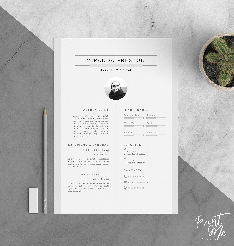 Plantilla Curriculum Vitae Plantilla CV Carta de | Etsy