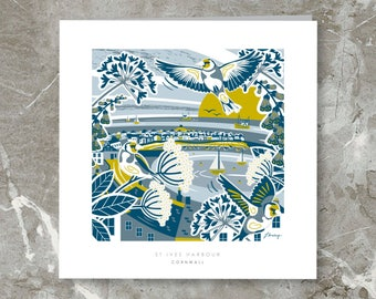St Ives Harbour, Cornwall Illustration. Greetings Card + Envelope. 6inch x 6inch. Designed & Handmade in Cornwall.