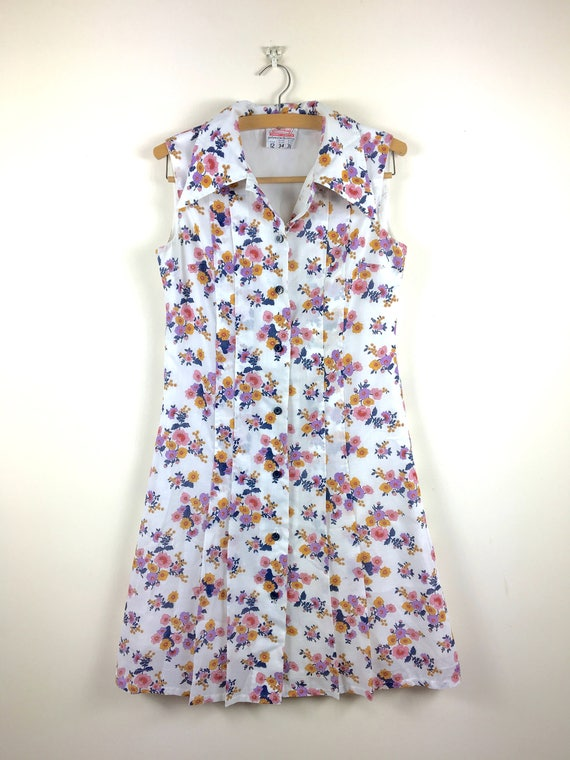 1960s Floral Day Dress S