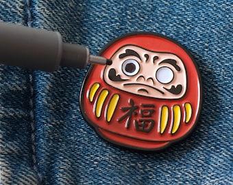Daruma Enamel Pin – Dharma Doll –Traditional – Lapel Pin – Japanese