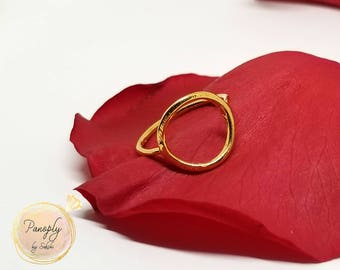 14k Gold Simple Circle Ring/ Geometric/ Unique Ring