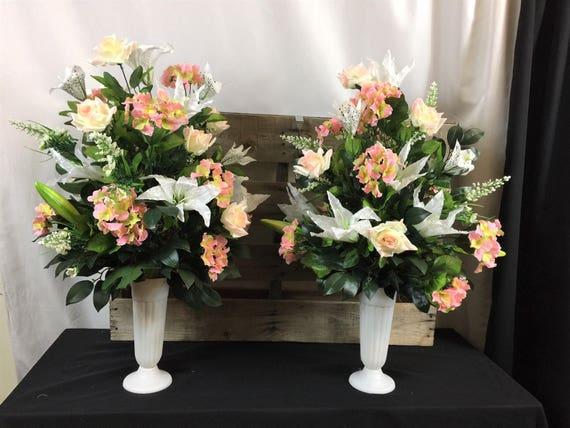 Braut Hochzeit Kirche Altar Pew Anordnung Weiss Und Rosa Seide Etsy
