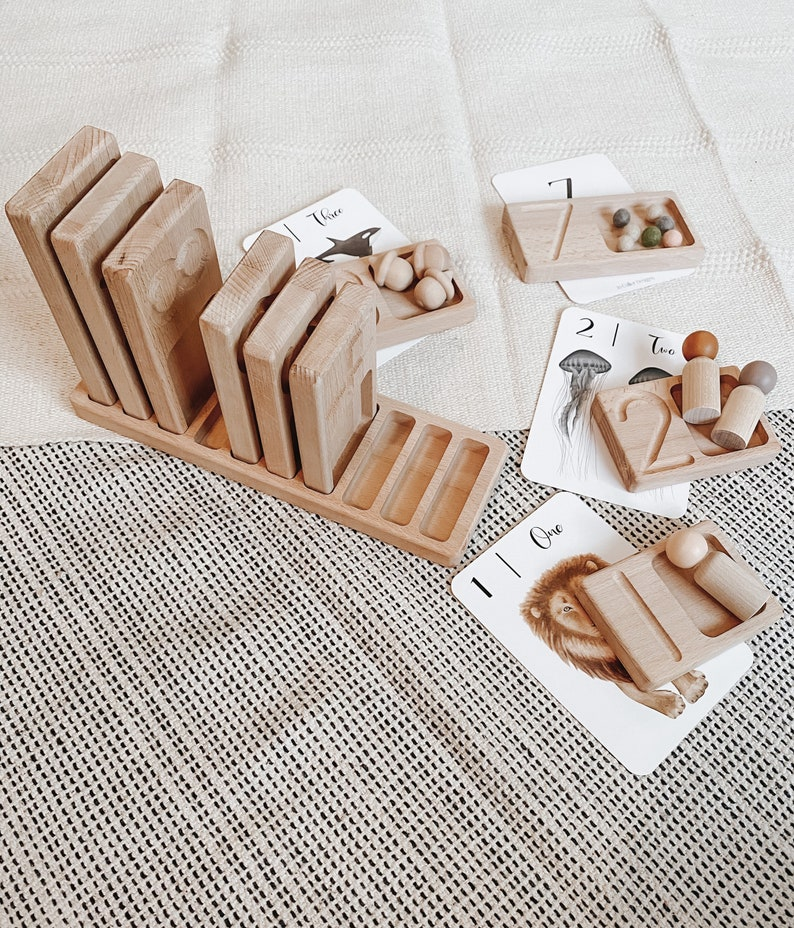 Wood Number Tracing Counting Trays Montessori