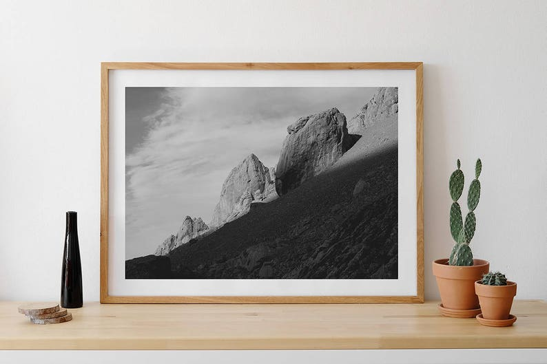 Giant Of Modern Photography At >> Giant Rocks Print Mountain Wall Art Clouds Black And White Etsy