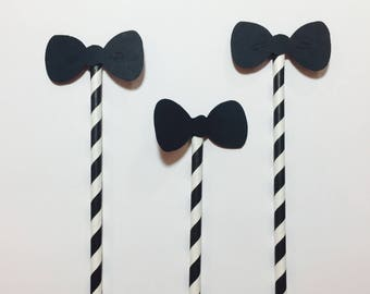 Bow Ties on Straws (Paper Die Cuts)
