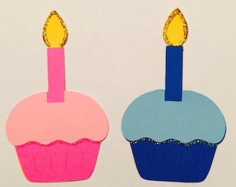 Birthday Paper Die Cut Cupcakes Decorations