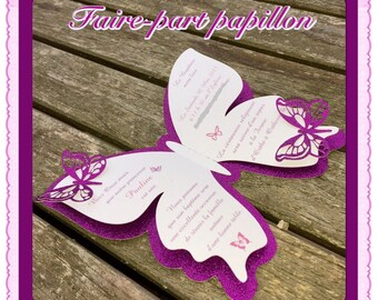Customizable glitter Butterfly invitation