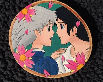Howl's Moving Castle handpainted wood slice