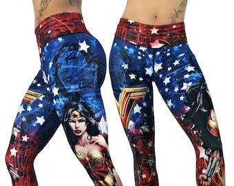 44d20e82d20c9 Wonder Woman Superhero Leggings, High Waist Womens, Yoga, Workout,  Athletic, Crossfit, Gym