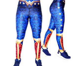311ae7b9b8649 Wonder Woman Superhero Leggings, High Waist Womens, Yoga, Workout,  Athletic, Crossfit, Gym