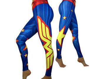 a765aefb9a0d8 Wonder Woman Superhero Leggings, High Waist Womens, Yoga, Workout,  Athletic, Crossfit, Gym