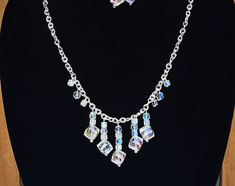 Cube Necklace and Earring Set