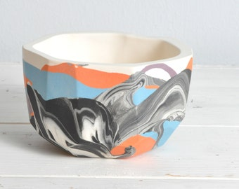 READY TO SHIP - Handmade Round Marbled Porcelain Planter in Blue, Orange & Purple - Clay Pottery Geometric Vase Ceramic
