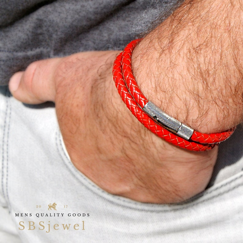 1a30d22ae57616 RED LEATHER BRACELET Mens Woven Leather Bracelet Leather   Etsy