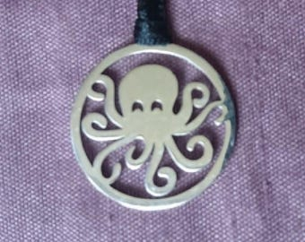 Octopus Flat Pendant/Charm, Stainless Steel, 20mm by 20mm by 1.1mm