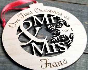 Our First Christmas Ornament   Mr and Mrs Ornament   Our First Christmas as Mr & Mrs   Custom Christmas Ornament   Christmas Ornaments