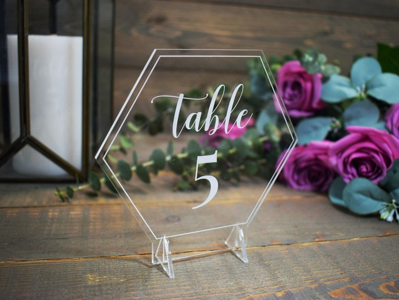Laser Etched Clear Acrylic Geometric Wedding Table Numbers, Laser Engraved  Hexagon Wedding Signs, Industrial Reception Table Centerpieces,