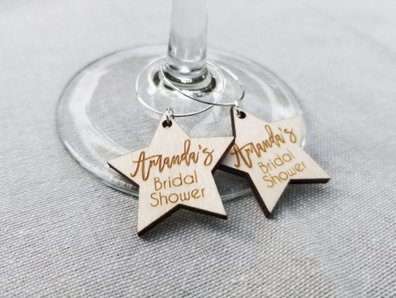 Soon to Be Mrs Wine Charms with Date Laser Engraved Champagne Charms Personalized Bridal Shower Favors Bridal Shower Party Drink Favors