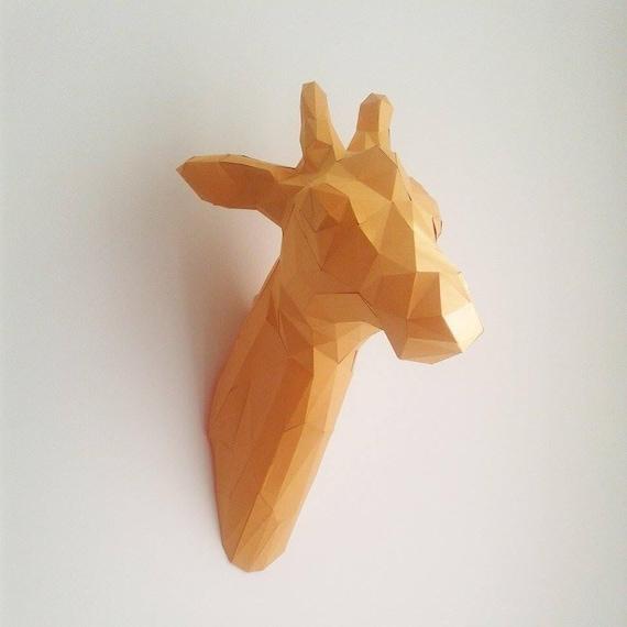 Geometric Origami Giraffe Head Trophy