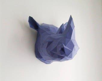 Geometric paper Rhino head trophy