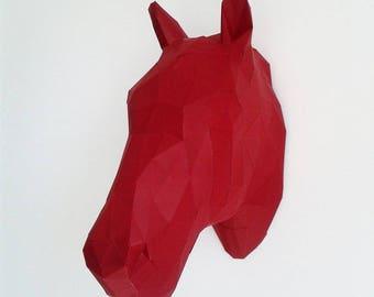 Geometric paper horse head trophy