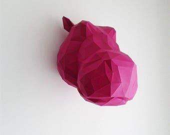 Geometric paper Hippo head trophy