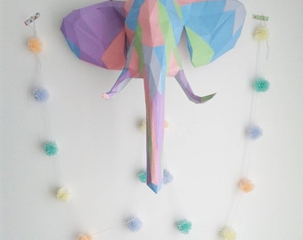 Geometric paper elephant head trophy