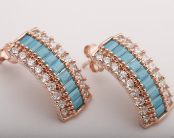65f26265a Turkish Handmade Jewelry Baguette Rectangle Cut Turquoise and Round Cut  White Topaz Rose Gold 925 Sterling Silver Stud Earrings