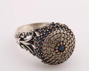 Evil Eye Protection Design Turkish Nazar Handmade Good Luck 925 Sterling Silver Round Cut Sapphire Citrine White Topaz Ring All Size