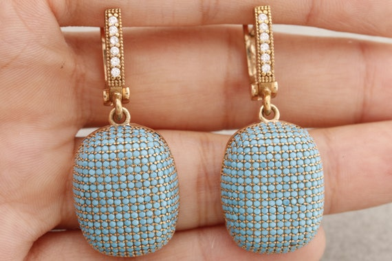 Fantastic Design Turkish Handmade Jewelry Good Luck 925 Sterling Silver  Round Cut Turquoise Stone Dangle&Drop Earrings