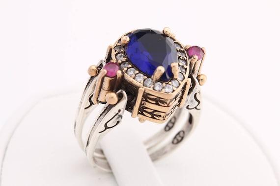 Turkish Reversible Drop Sapphire Ruby Jade Topaz 925 Sterling Silver Ring