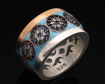 Evil Eye Turkish Nazar Handcrafted 925 Sterling Silver Sapphire White Topaz Blue Enamel Band Style Ring for Gift for Her/His Size