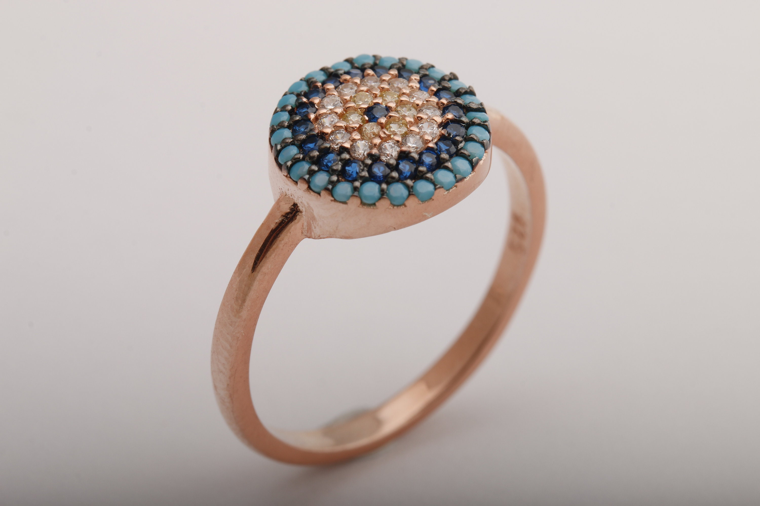 3a1e02db941ce0 Stunning Turkish Handmade Jewelry Round Cut Turquoise Zircon 925 Sterling Silver  Ring Size Options Bands