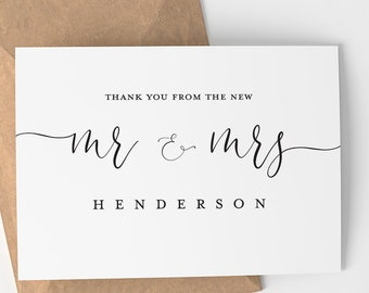 Personalized Thank You From The New Mr. and Mrs.   Custom - Wedding Day Card - Wedding Card - Wedding Thank You - Card - Blank Inside