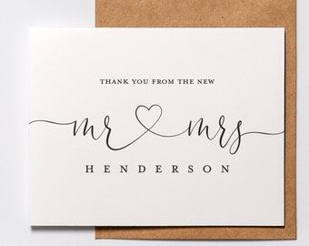 Personalized Thank You Wedding Personalized Infinity Thank You Card Name Thank You card note | Wedding Thank You Set of 10
