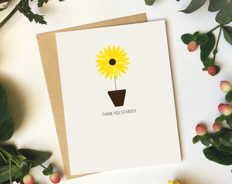 Sunflower Thank You Card   Thank You So Much - Any Occasion - Flowers - Thank you card - Greeting Card