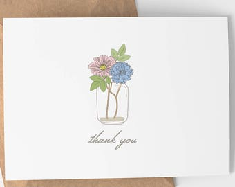 Thank You Card | Thank You - Mason Jar - Flowers - Simple - Thanks - Thank You - Greeting Cards